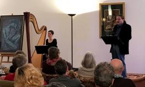 """""""...und Orpheus singt."""" mit Rezitator Yann Leiner und Harfenistin Verena Bochum am 8.12.2017 im KuBa Saarbrücken"""